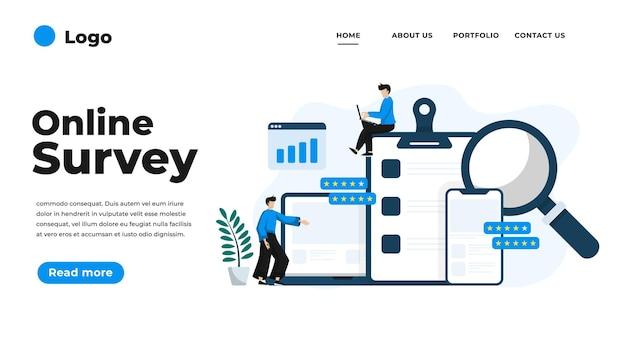 Moderne flache designillustration der online-umfrage. kann für website und mobile website oder landing page verwendet werden. illustration