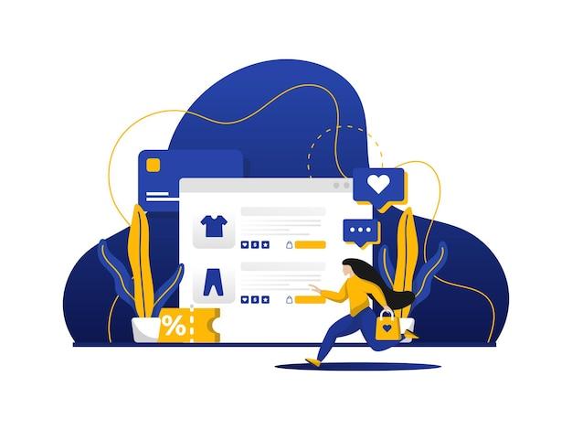 Moderne flache designillustration des online-einkaufs.