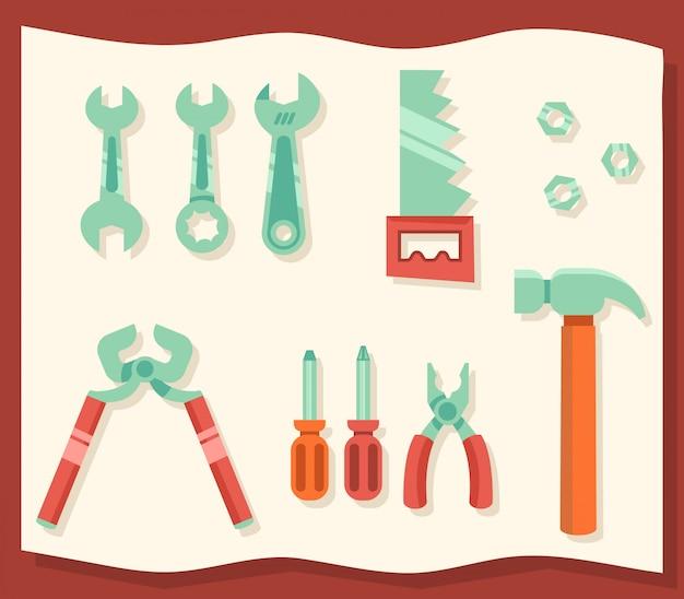 Moderne flache designillustration von sortierten werkstattwerkzeugen.