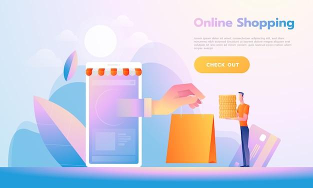 Moderne flache designleute und geschäftskonzept für m-commerce, bedienungsfreundlich und in hohem grade kundengerecht. modernes vektor-illustration-konzept.
