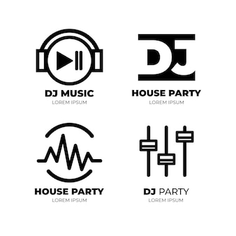 Moderne flache dj-logo-sammlung