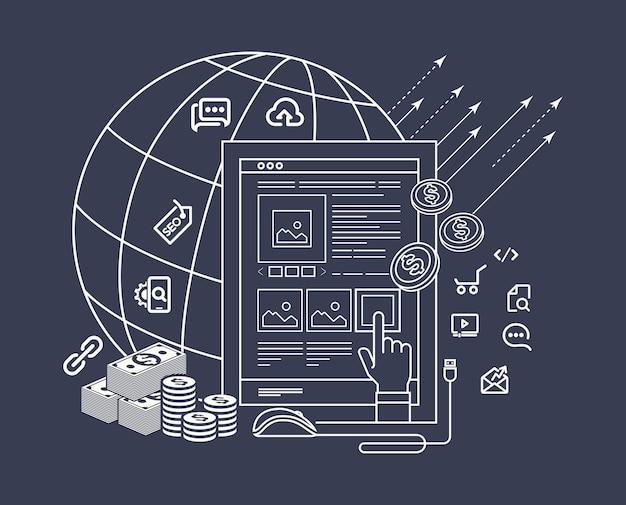 Moderne flache dünne linie design für pay-per-click-illustration