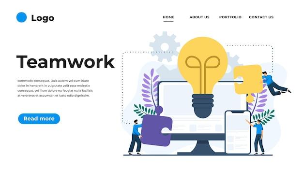 Moderne flache entwurfsillustration der teamarbeit. kann für website und mobile website oder landing page verwendet werden. illustration