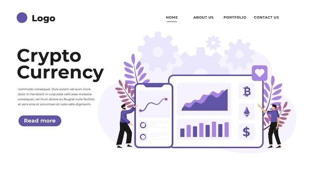 Moderne flache entwurfsillustration des kryptowährungs-marktplatzes. kann für website und mobile website oder landing page verwendet werden. illustration