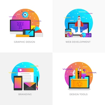 Moderne flache farbig gestaltete konzeptikonen für grafikdesign