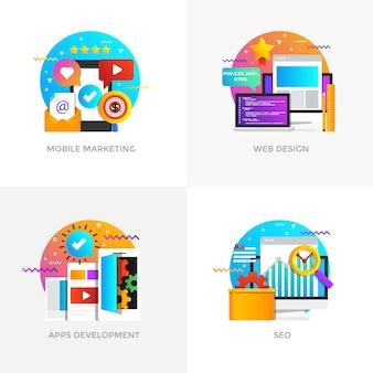 Moderne flache farbig gestaltete konzeptsymbole für mobiles marketing