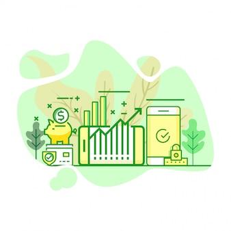 Moderne flache grüne farbillustration der investition