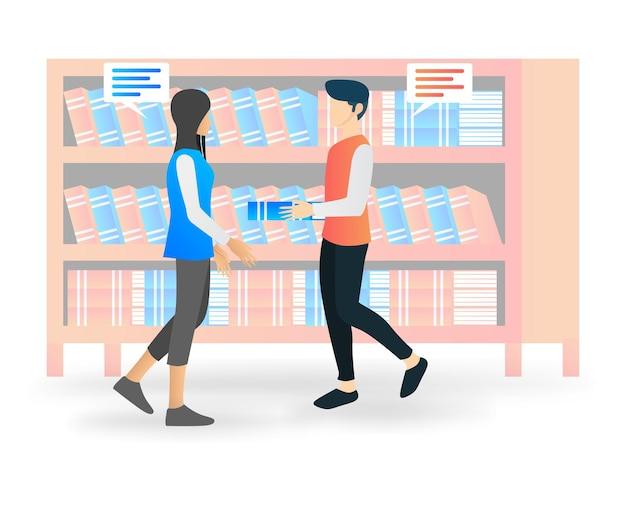 Moderne flache illustration des gesprächs in der bibliothek
