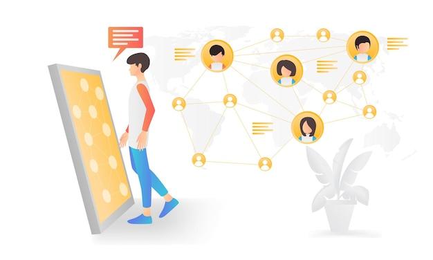 Moderne flache illustration eines mannes, der in den sozialen medien mit menschen auf der ganzen welt kommuniziert