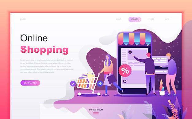 Moderne flache karikatur des einkaufens und des e-commerce