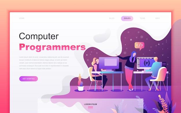 Moderne flache karikatur von computerprogrammierern