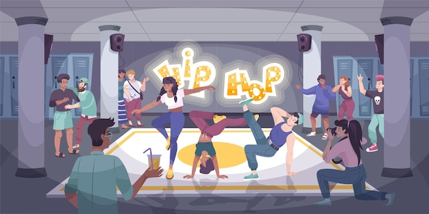 Moderne flache komposition des tänzers mit einer gruppe von hip-hop-tänzern, die bei einer indoor-veranstaltung mit publikumsillustration auftreten