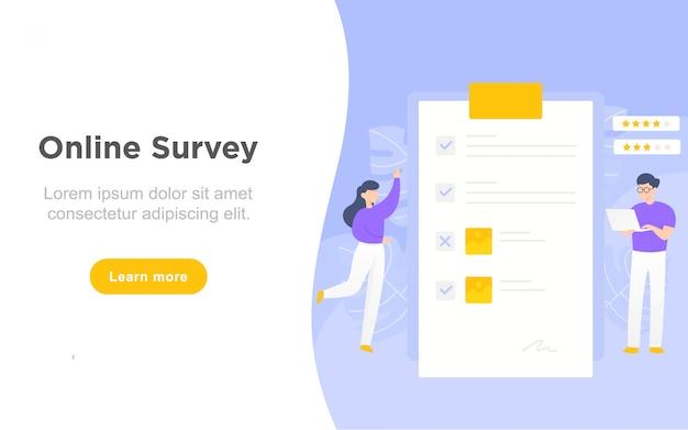 Moderne flache landingpage der online-umfrage