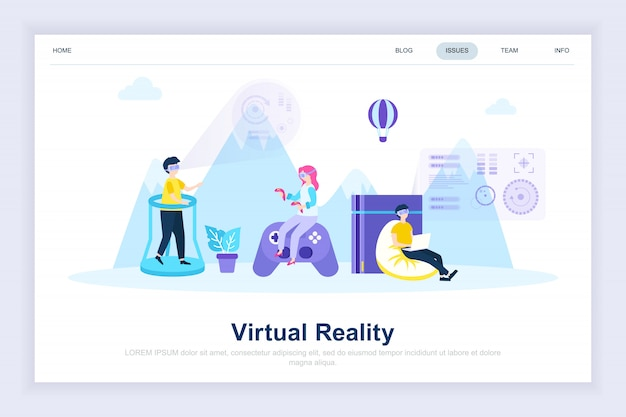Moderne flache landingpage der virtuellen augmented-reality-brille