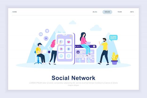 Moderne flache landungsseite des sozialen netzwerks