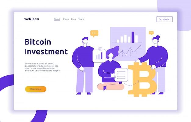 Moderne flache linie illustration der vektor bitcoin investition