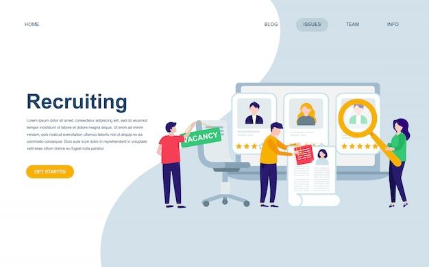 Moderne flache webseite designvorlage der rekrutierung