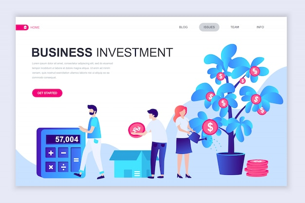 Moderne flache webseite designvorlage von business investment