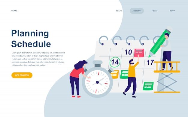 Moderne flache webseite designvorlage von planning schedule