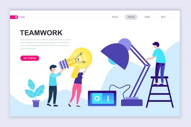 Moderne flache webseite designvorlage von teamwork