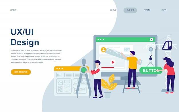 Moderne flache webseite designvorlage von ux, ui design