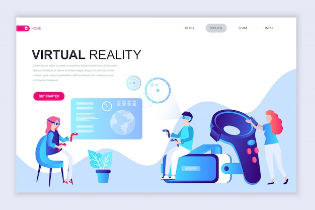 Moderne flache webseite designvorlage von virtual reality