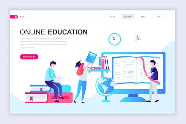 Moderne flache webseiten-designvorlage für online-bildung