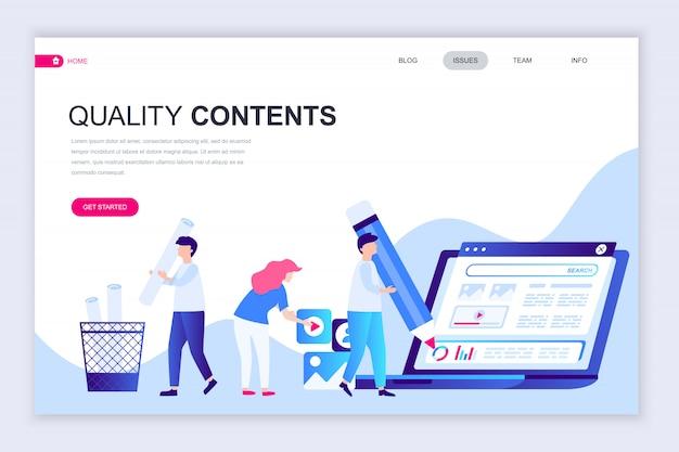 Moderne flache webseiten-designvorlage für qualitätsinhalt
