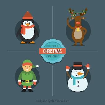 Moderne flache weihnachtsfiguren