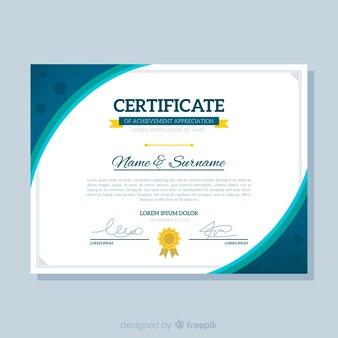 Moderne flache zertifikatvorlage