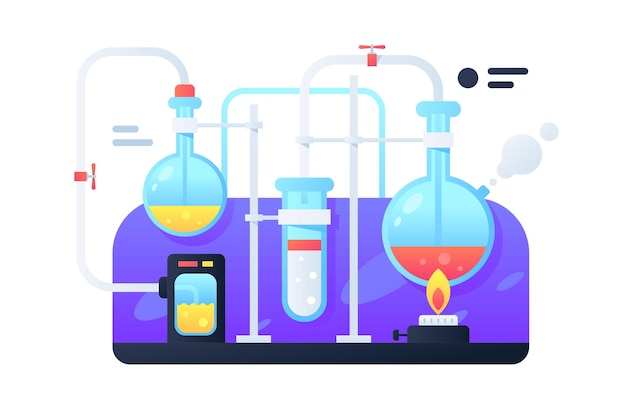 Moderne flaschen mit flüssigkeit für chemische umwandlungen. konzept wissenschaftliches experiment mit feuer für entwicklungsmedikamente.