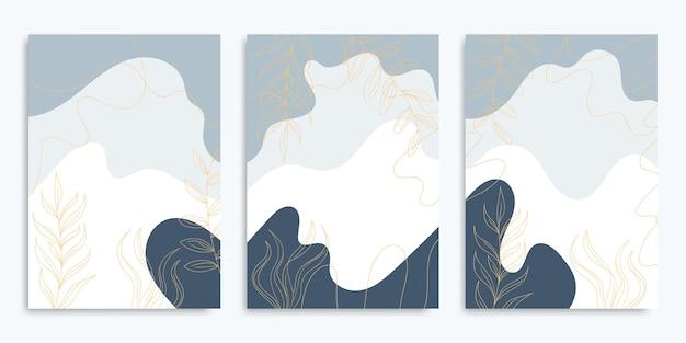 Moderne fließende bunte plakate mit abstrakten formen