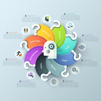 Moderne frage spiral diagramm infografiken optionen