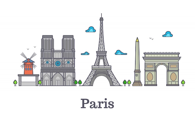 Moderne frankreich-reiselinie markstein, paris-panoramavektorillustration