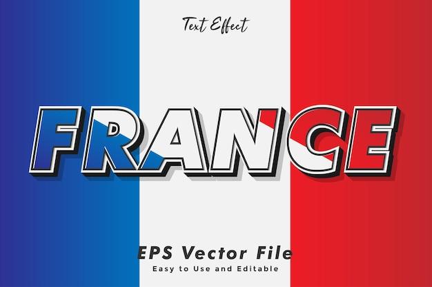Moderne frankreich-texttypografie-effektschablone