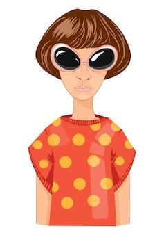 Moderne frau mit dem kurzen haar und den gläsern