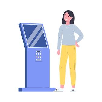 Moderne frauenkarikaturfigur unter verwendung der flachen vektorillustration des interaktiven kiosks lokalisiert auf weißem hintergrund