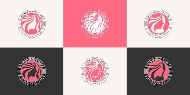 Moderne friseursalon-logo-design-vorlage mit luxus-emblem-stil für schönheitssalon premium-vektor