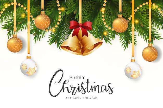 Moderne frohe weihnacht-karte mit elegantem hintergrund