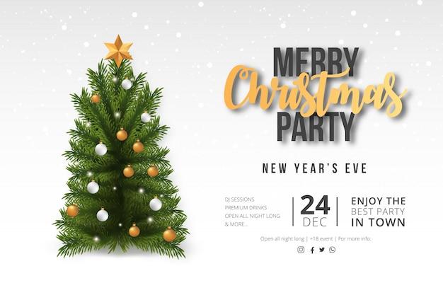 Moderne frohe weihnacht-party-karte mit realistischem baum