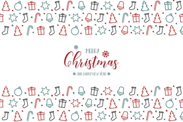 Moderne frohe weihnachten mit gruß-ikonen