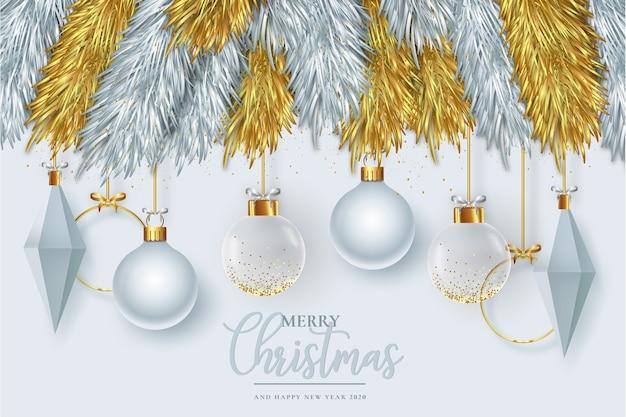 Moderne frohe weihnachtskarte mit realistischer dekoration