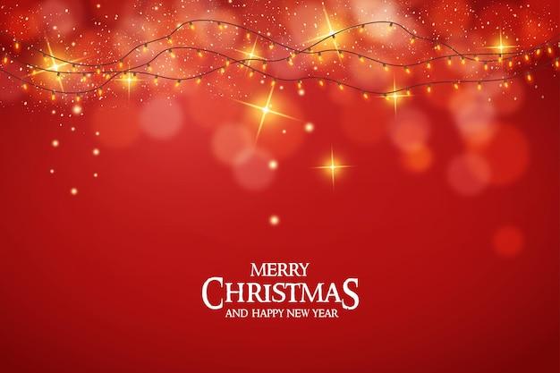 Moderne frohe weihnachtskarte mit realistischer weihnachtsbeleuchtung und bokeh