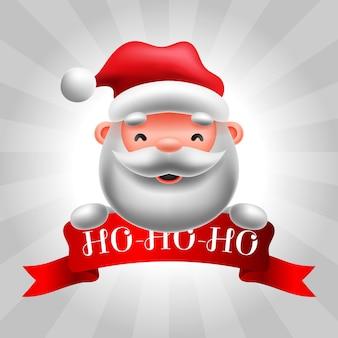 Moderne frohe weihnachtskarte mit weihnachtsmann