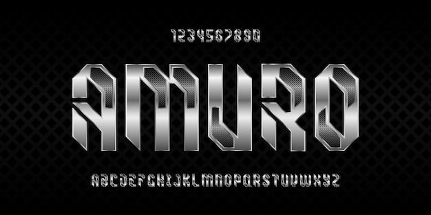 Moderne futuristische alphabet-schriftart-typografie im urbanen stil
