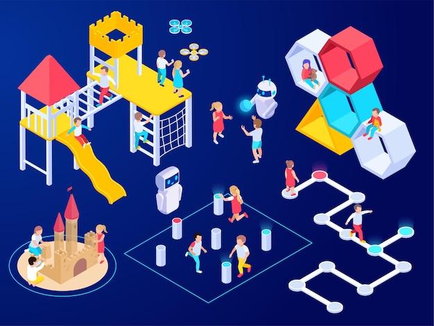 Moderne futuristische isometrische komposition des spielplatzes mit isolierten bildern von spielgeräten mit kinderdrohnen und roboterillustration