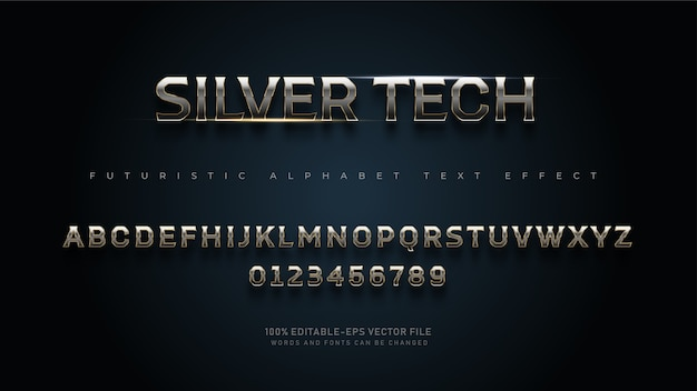 Moderne futuristische silver tech alphabet-schriftarten mit texteffekt