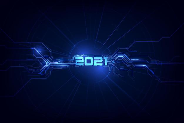 Moderne futuristische technologievorlage neues jahr