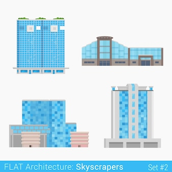 Moderne gebäude handel business center einkaufszentrum hotel wolkenkratzer set stadt elemente stilvolle architektur-sammlung