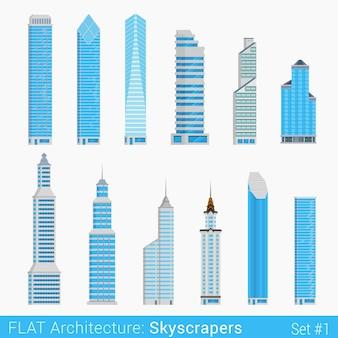 Moderne gebäude wolkenkratzer setzen stadtelemente stilvolle architekturkollektion